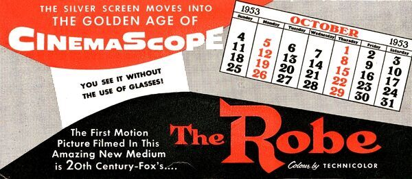 CINEMASCOPE A publicity message printed on a complimentary ink blotter advertising the coming CinemaScope process, sent to the manager of the Palace Cinema, Crewkerne, England