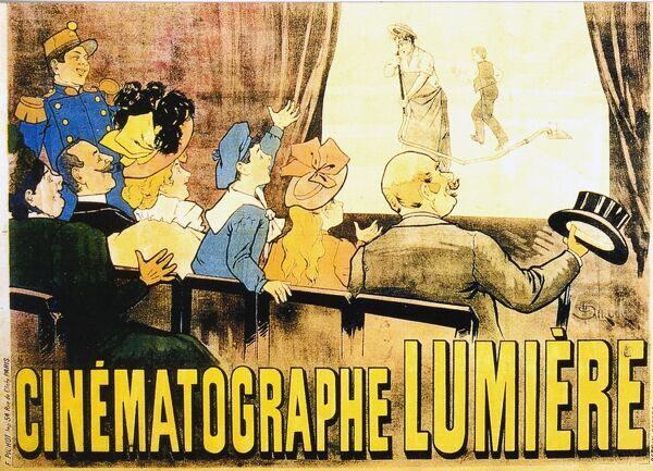 CINEMATOGRAPHE LUMIERE POSTER ADVERTISING THE PERFORMANCES AT THE GRAND CAFE BOULEVARD DES CAPUCINES PARIS, 1896 THE FILM ON SCREEN IS L'ARROSEUR ARROSE aka THE WATERER WATERED [FR 1895]